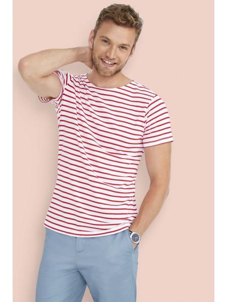 Мужская футболка с круглым воротом в полоску SOL'S MILES MEN-01398